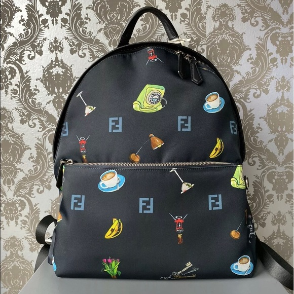 FENDI Backpack Bag Animated Pattern With RFID